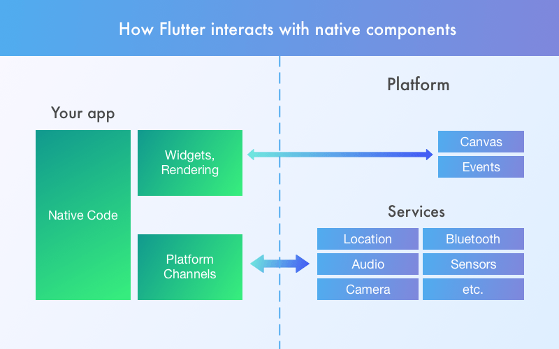 Flutter interaction with native components